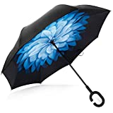 Deerbird Car Inverted Umbrella Double Layer UV Protection Windproof Umbrella with C-type Rubber Handle, Self-Standing Hand-free Reverse Umbrellas for All Weather - Blue Flower