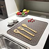 """Dish Drying Mat – 23"""" x 18"""" XXL Silicone Drying Mats for Kitchen Counter, Heat Resistant trivets Washable Rubber Drying Rack Mat for Dishes brown"""