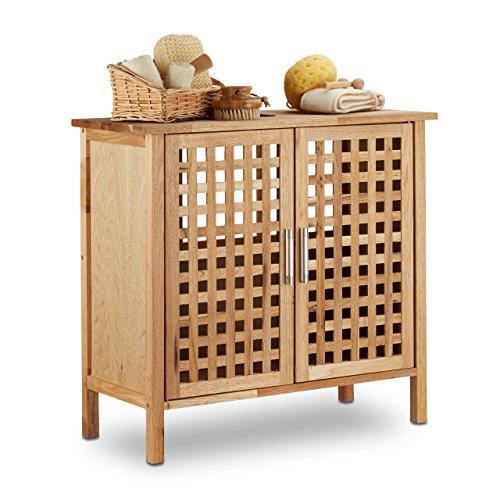 Relaxdays Waschbeckenunterschrank Walnuss HBT: 61x 66 x 29 cm Waschbeckenschrank robust und widerstandsfähig Bad Unterschrank fürs Waschbecken oder den Waschtisch helles Holz, natur
