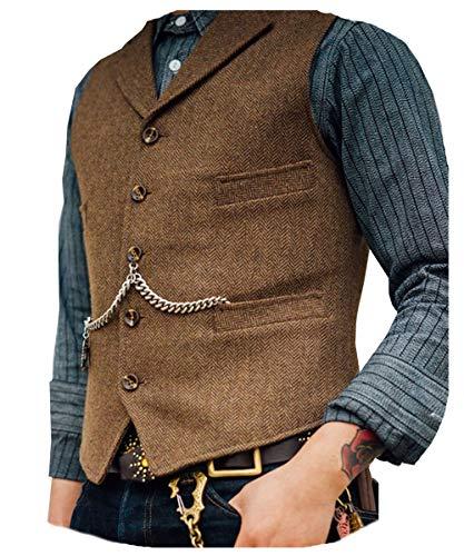 Solove-Suit. Chaleco de traje clásico para hombre, patrón en espiga, corte entallado, solapa de punto - blanco - XXX-Large