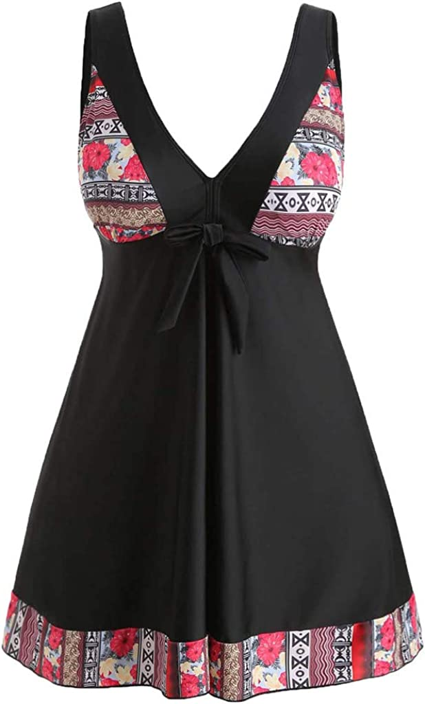 Women Padded Swimwear Plus Size Floral Print Bow Knot Swimsuit Skirt Tankini Set