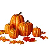 winemana Thanksgiving Artificial Pumpkin Decoration, Realistic Foam Yellow Pumpkin with 100 pcs Maple Leaves Made of Cloth, Suitable for Fall Harvest, Thanksgiving Party Indoor and Outdoor Decoration