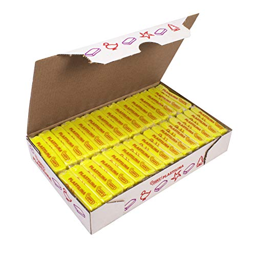 Jovi Plastilina Reusable & Non-Drying Modeling Clay; 1.75 Oz. Bars, Set of 30, Yellow, Perfect for Arts & Crafts Projects