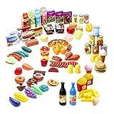 150 Küchenspielzeug Plastik Lebensmittel Spielzeug für Kinder| Ungiftig & 100% BPA-Frei| Gemüse Obst Pommes Frites Pizza Hamburger Hotdog Eis Donuts etc| Lernspielzeug Weihnachten Geburtstagsgeschenk