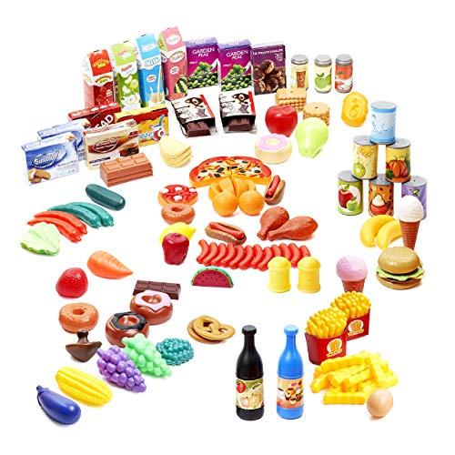 150 Küchenspielzeug Plastik Lebensmittel Spielzeug für Kinder| Ungiftig & 100{73c259e3eee65784cb858968c409270691fad448143f5a998f0da48783502dda} BPA-Frei| Gemüse Obst Pommes Frites Pizza Hamburger Hotdog Eis Donuts etc| Lernspielzeug Weihnachten Geburtstagsgeschenk