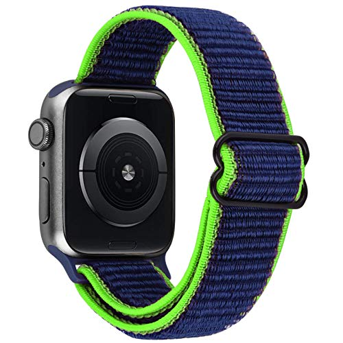 VISOOM Stretchy Bands Compatible with Apple Watch 38mm/40mm/42mm/44mm-Apple Watch Strap for iWatch Series 6/SE/5/4/3/2/1 Accessories Elastics Sports Replacement for Men Women (Navy Blue, 42mm/44mm)