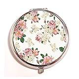 Floral, rosa, verde, diseño vintage Custom tono único redondo pastillero Medicina Tablet Organizador o Monedero