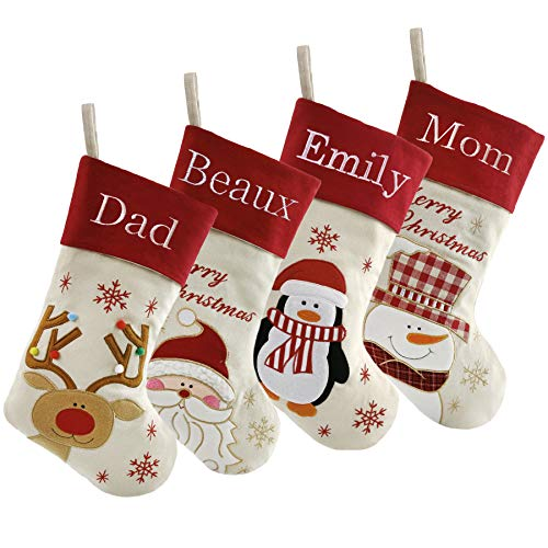 WEWILL Set of 4 Personalized Christmas Stockings Home Decorations Gifts for Family Party Decorations, 20 Inches