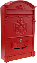 PrimeMatik - Vintage letter mail post box mailbox letterbox antique metallic red color for wallmount