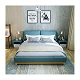 JTJxop Cloth Platform Bed with Headboard, Full Size Upholstered Bed Frame with Headboard Strong Wood Slat Support, No Box Spring Needed, Easy Assembly,Blue,180x200cm