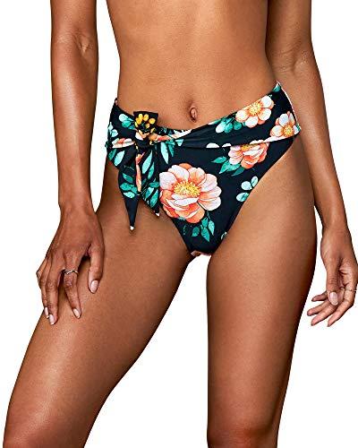 CUPSHE Damen Bikinihose mit Schleife Badehose Hoher Beinschnitt High Waist Hipster Bikini Slip Orange Blumen L