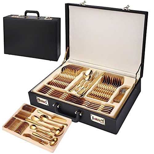 Conjunto de caja de regalo de maleta de cuero de 84 piezas, cubiertos de vajillas de acero inoxidable para cocinas familiares, restaurantes y hoteles, espejo pulido, gold