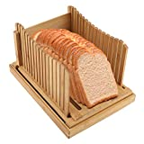 FAMKIT Bamboo Bread Slicer Foldable Slicer Guide with Crumb Catching Tray, Homemade Bread Loaf