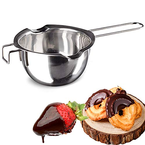 Stainless Steel Double Boiler Pot Chocolate Melting Pot for Melting Chocolate, Butter, Cheese, Candle and Wax Making Kit Double Spouts with Capacity of 400ml