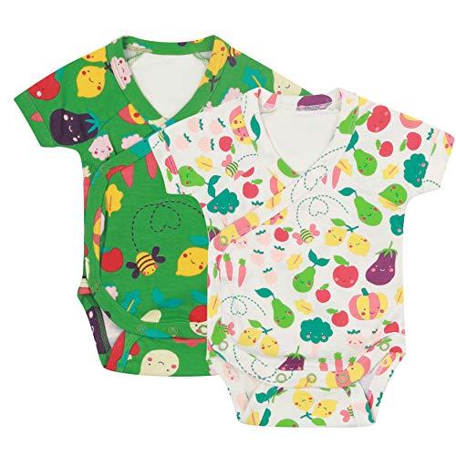 Paquete de dos bodis de manga corta para bebé de algodón orgánico suave para cultivar tu propia...