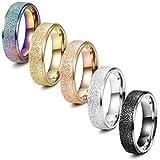 Finrezio 5 Pcs 6MM Stainless Steel Rings for Women Men 5 Colors Sandblast
