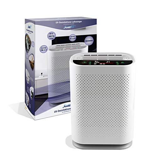 LEICKE UV Desinfektions Luftreiniger PureO2 mit Luftqualitätsmesser | Smart Air Purifier mit 4-in-1 HEPA Filtersystem und UVC Lampe | entfernt bis zu 99,9{f6ce088ea17dac2b367591fc73bec1dc25308f2c2253fe80b9ac2eb7b4fda267} der Viren, Aerosole und Schadstoffe