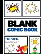 Blank Comic Book: Create Your Own Comic Strip, Blank Comic Panels, 135 Pages, Blue (Large, 8.5 x 11 in.) (Action Comics) (Volume 5)
