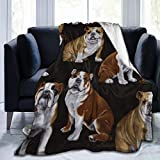 Ultra-Soft Micro Fleece Blanket English Bull Dogs Throw Blanket Warm Blanket Throw Blanket Ultra Soft Thick Bed Blanket for Bed Couch - All Season Premium Bed Blanket (60 X 50 Inches)