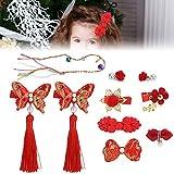 Pinzas para el cabello con borlas para el cabello para niñas, horquilla estilo chino para niños, horquillas para el cabello para niñas, accesorios para el cabello con cuerda para el cabello
