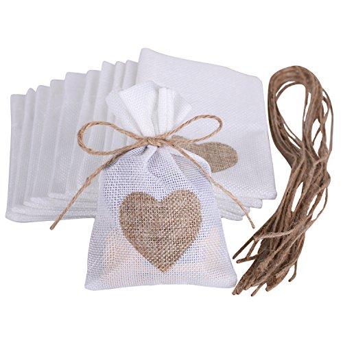 Wolfteeth 10 pz 14 x 10 cm Sacchetti Iuta Lino Regalo Caramella portaconfetti Bustine per Battesimo Matrimonio Confetti Gioielli – Jute Cuore 782202