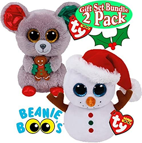 TY Beanie Boos Scoop (Snowhomme) & Mac (Mouse) Holiday (Christmas) Gift Set Bundle - by Ty Beanie Boos