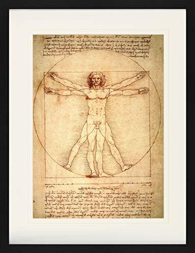 1art1 Leonardo Da Vinci Poster De Collection Encadré - Homme De Vitruve, vers 1490 (80 x 60 cm)