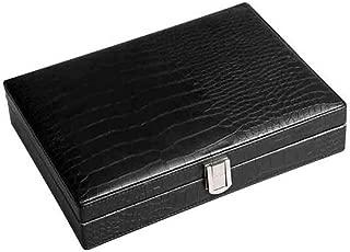 SLY Moisturizing Crocodile Leather Cow Leather Lined with Cedar Wood 25 Sticks Convenient Cigar Box, (Color : Black)