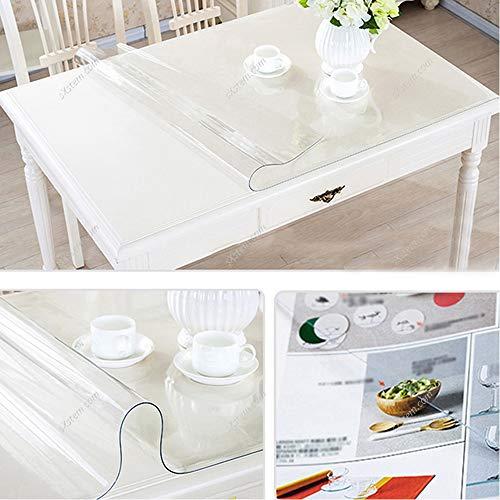 Yizunnu - Mantel protector de mesa de vinilo transparente, suave e impermeable, de 1 mm, vinilo, transparente, 60x60cm/23.6x23.6inch