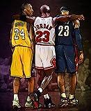 Kobe Bryant Lebron James Michael Jordan Poster, NBA Legends Picture Print Wall Art Decor All Star Tribute Fan...