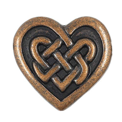 Bezelry 12 Pieces Celtic Heart Love Knot Metal Shank Buttons. 19mm (11/16 inch) (Antique Copper)