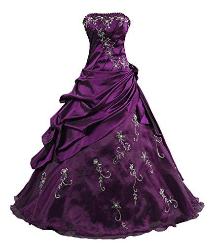 Kmformals Damen Ballkleid trägerlosen Prom Kleider Abendkleidung Größe 44 Lila