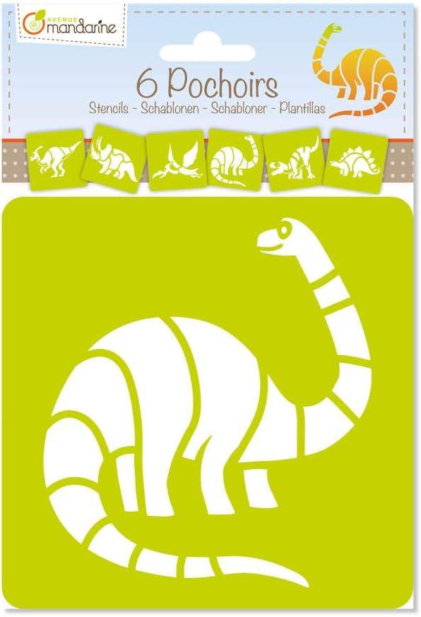 Avenue Mandarine 42449MD - Un lot de 6 pochoirs 15,4x22,3 cm avec notice incluse, Dinosaures