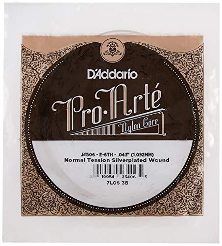 D'Addario J4506 Pro-Arte, cuerda individual de nailon para guitarra clásica, tensión normal, sexta cuerda