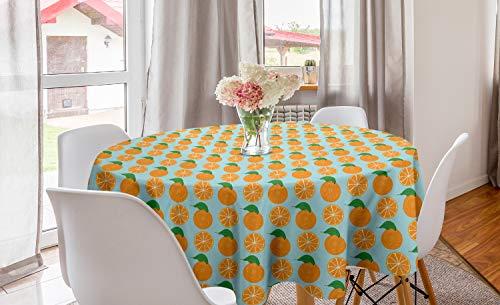 ABAKUHAUS Oranje Rond Tafelkleed, Vitamine C Half gesneden fruit, Decoratie voor Eetkamer Keuken, 150 cm, Pale Blue en Oranje