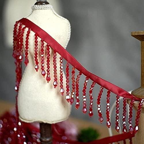 Cristal colgante con cuentas de encaje Trim borla franja DIY escenario ropa hogar cortina boda accesorios decorativos CR1963-2 yardas precio, vino rojo