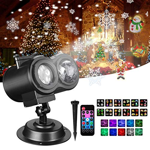 Christmas Lights, Gemwon 2-in-1 Projector Lights with Water Wave & Moving Patterns, Outdoor Waterproof Decorative Lights for Xmas, Halloween, Parties, Holidays, House, Wedding