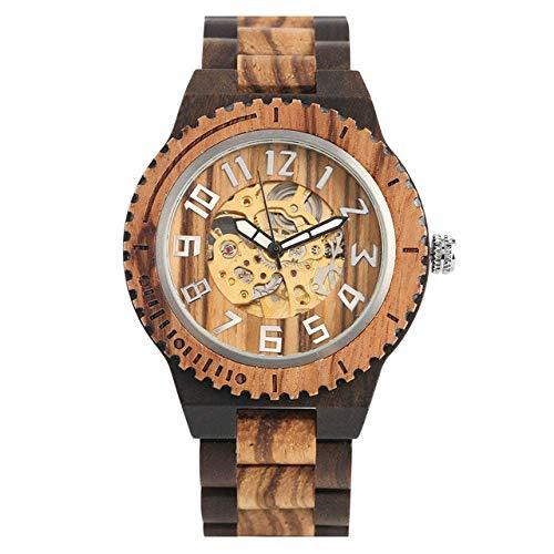 AZDS Reloj de Madera para Hombre Reloj mecánico de Madera de ébano Negro Reloj automático de Cuerda automática Números árabes Dial es para niños
