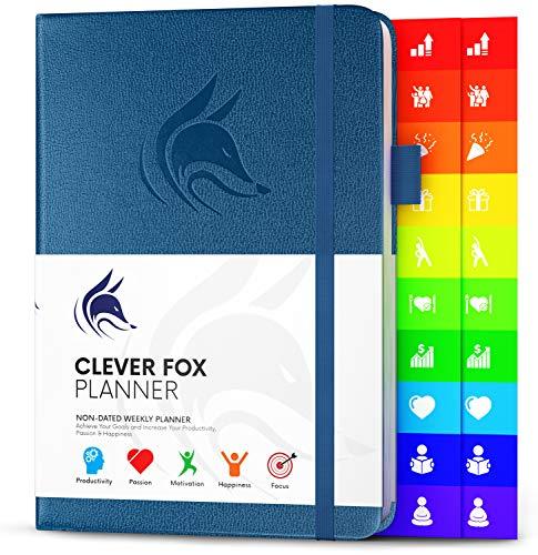 Der Clever Fox Planer - Kalender Notizbuch Organizer Tagebuch zur Steigerung von Produktivität, Motivation, Achtsamkeit, Glück, Erfolg und Zielerreichung, Undatiert, A5 - Mystisches Blau