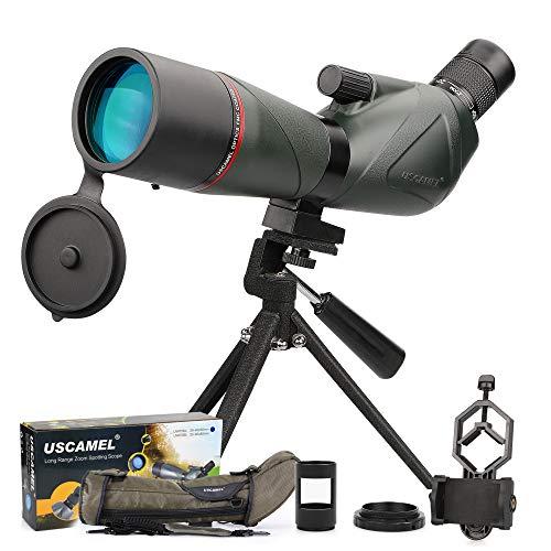 Telescopio Terrestre 20-60x60mm Impermeable Lente óptica Recubierta FMC Zoom Spotting Scope con Trípode y Adaptador de...