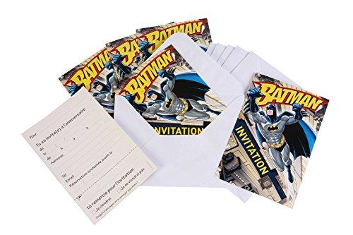 6 Invitations + enveloppes Batman - taille - Taille Unique - 217413