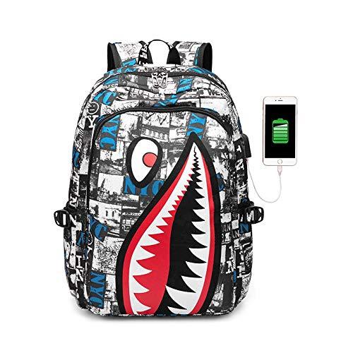 Backpack School Students_High School StudentsUSBComputer Shoulder Bag Men Outdoor Pupils Shark Backpack, NYCUpgrade Charge Version