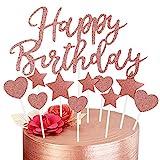 Decoración para Tarta de Oro Rosa, Happy Birthday Adornos Tartas para Niñas Mujeres Niños Decoración de Pastel Cumpleaños, Corazones Estrellas Cake Cupcake Topper Suministros de Purpurina para Fiestas