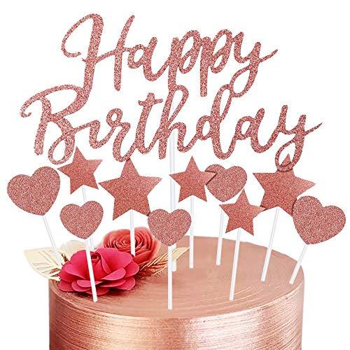 Decorazione per Torta Oro Rosa, Happy Birthday Cake Topper per Ragazze Donne Decorazione per Torte di Compleanno, Stelle Cuori Cupcake Toppers per Bambini Compleanno Forniture Glitter per Feste