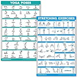 QuickFit Yoga Poses and Stretching Exercise Poster Set - Laminated 2 Chart Set - Yoga Positions & Stretching Workouts (18' x 27')