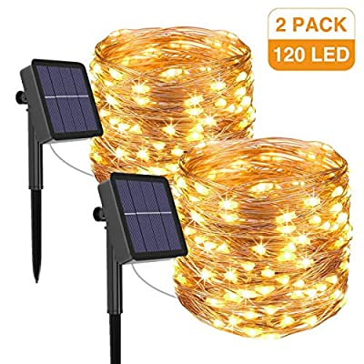 kolpop Solar String Lights Outdoor, Solar Powered Fairy Lights 39 Ft 120 LED 8 Modes Garden Copper Wire Waterproof Decoration Lighting for Tree Patio Christmas Camping Wedding Party Warm White