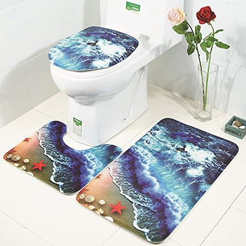 L.W.S alfombra de baño Ducha Ocean Playa Patrón de baño Matera de baño Matera de inodoro Tres piezas Alfombra Absorbente de agua No desvanecimiento Joker Conjunto Cómodo Baño Máquina antideslizante La
