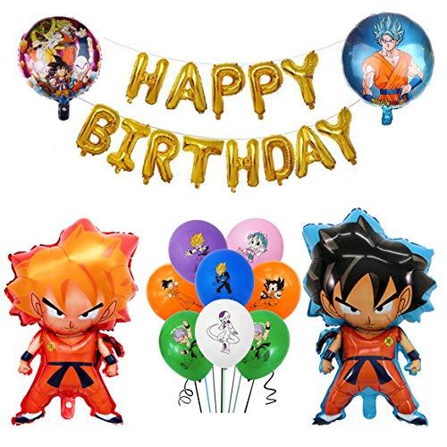 15 Pack Dragon Ball Z Super Saiyan Goku, Birthday Celebration Foil Balloon Set, Dragon Balloons Party Decorations
