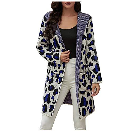 YANFANG Abrigo de suéter con Bolsillo con Estampado de Leopardo y cárdigan de otoño e Invierno para Mujer Chaqueta cálido Talla Grande térmica con Capucha