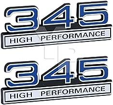 345 5.7 Liter High Performance Engine Emblems in Chrome & Blue Trim - 4